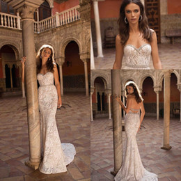 beautiful sweetheart mermaid wedding dress 2019 - Elegant Beautiful Sweetheart Full Lace Mermaid Wedding Dresses 2019 Berta New Arrival Lace Crystals Beaded Wedding Brida