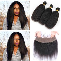 Bundle Kinky Straight Human Hair Australia - Itailian Coarse Yaki Virgin Brazilian Hair 3 Bundles Deals with Frontals Kinky Straight Lace Frontal Closure 13x4 with Human Hair Weaves