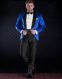 h suit Australia - New Fashion One Button Royal Blue Groom Tuxedos Groomsmen Shawl Lapel Best Man Blazer Mens Wedding Suits (Jacket+Pants+Tie) H:876