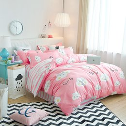 Pink Green Girls Bedding Canada - Girl Pink+White Clouds Pattern Bedding Set Super King Duvet Cover Set 3 4pcs Bedclothes Adult Bed Man Duvet Flat Sheet Soft
