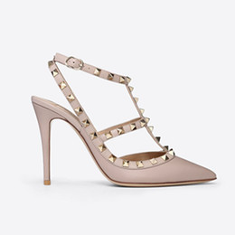 Wedding Shoes Women Medium Heel UK - Designer Pointed Toe 2-Strap with Studs high heels matte Leather rivets Sandals Women Studded Strappy Dress Shoes valentine high heel Shoes