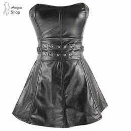 Plus Size Burlesque Dresses NZ - Women Burlesque Steampunk Black Faux Leather&Lace Women Corset Top Bustiers Costume Dress Sexy Lingerie Plus Size Waist Trainer