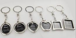 Pendant Rectangle Stone Australia - Wedding Jewelry Gifts Metal Keychains Love Heart Apple Oval Rectangle Shape Photo Frame Pendant Key Chain Keyrings Car Keychains