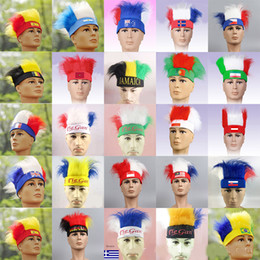 Discount unique wigs - World Cup Theme Soccer Fans Hats With Country Flag Colorful Wig Football Team Pattern Style Headband For Unique Souvenir