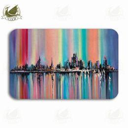 $enCountryForm.capitalKeyWord NZ - Vixm Original Oil Painting Fear Rainbow Color Without City Welcome Door Mat Rugs Flannel Anti-slip Entrance Indoor Kitchen Bath Carpet