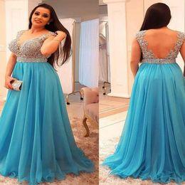 $enCountryForm.capitalKeyWord NZ - New Arrival Blue Plus Size prom Dresses 2019 Applique Beaded Floor Length Chiffon Long Dresses Evening Wear Backless robes de soirée femme