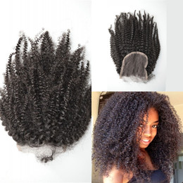 Brazilian BaBy afro hair online shopping - Indian Virgin Afro Kinky Curly Lace Closure Free Middle Three Part Natural Color Bleached Knots Top Closures Baby Hair