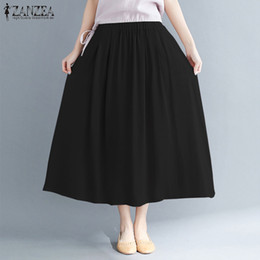 33858952151 2018 Summer ZANZEA Women Casual Loose Cotton Linen Skirts Solid Pleated Vintage  Long Maxi Skirt Baggy Pockets Faldas Plus Size