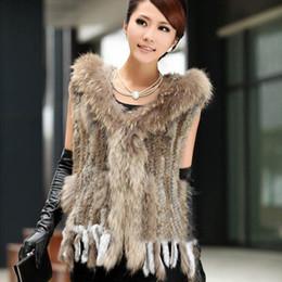 44adb73a04 2017 New Women Real Knit Rabbit Fur Vest Hooded With Genuine Racoon Fur  Tassel Gilet Winter Warm Natural Rabbit Fur Jacket w1990