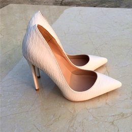 Sexy High Heel Shoes White Snake Print Leather Stilettos Shoes For Women  Pointed Toe Slip-on Leather Dress Pumps Shoes 4efab87f31b1