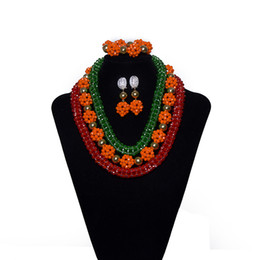 wedding costume jewelry dubai UK - Red Orange Green Women Crystal Beads African Jewelry Nigerian Beads Wedding Bridal Costume Beads Necklace Wedding Set Dubai Jewelry