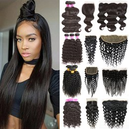 14 16 18 inch straight weave 2019 - Brazilian Virgin Hair Bundles with Lace Frontal Straight Body Wave Hair Weaves Frontal Closure Deep Wave Kinky Curly Hum