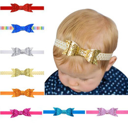 Hair Glitter Elastic Australia - Fashion New Baby Headbands Sparkle Bows Girls Glitter Bowknot Headdress Kids Elastic Headwear Head Bands Children Hair Accessories