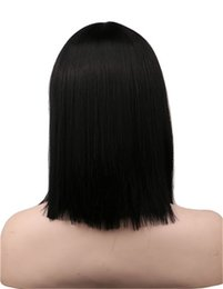 black short bob styles 2018 - Hair Synthetic Wigs QQXCAIW Women Short Neat Bang Bob Style Straight Cosplay Wig Party Costume Natrual Black 40 Cm Synth