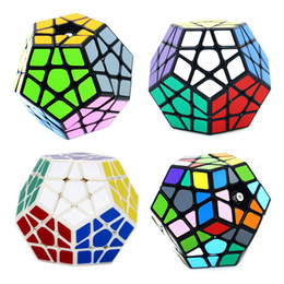 Magic Blocks Puzzle Australia - Megaminx Magic Cubes Pentagon 12 Sides Gigaminx PVC Sticker Dodecahedron Block Toys Twist Puzzle DIY Educational Magic Cube Toy for Children