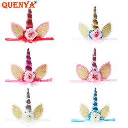 hair horns Australia - Quenya Unicorn Headbands Fabric Flowers with Solid Leather Horns Hair Bows Handmade Unicorn Headband Cat Ears Hair Bows for Girl Baby Party