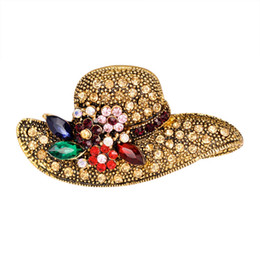 $enCountryForm.capitalKeyWord UK - 2018 hat shape rhinestone brooch vintage flower pins and brooches antique fashion jewelry scarf buckle jewelry
