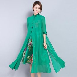 womens spring two piece dresses UK - Clobee Women Dress 2018 Womens Spring Wear Vintage Chiffon Dress Fake Two Piece Set Ethnic Floral Embroidery Green Dresses J308