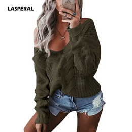 Knitted Cables Canada - LASPERAL 2017 New Fashion Women Cable Knit Sweaters Pullovers Casual Loose Autumn Winter Sexy V Neck Twist Knitwear Jumpers 2XL
