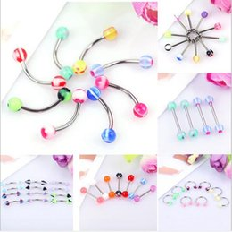 nose ring acrylic UK - New Arrival boby jewelry Nose Hoop Nose Rings Body Piercing Jewelry 6 style Acrylic stainless steel Nose Rings