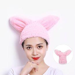$enCountryForm.capitalKeyWord NZ - Lovely Rabbit Ears Women Bathroom Hair Towels Super Absorbent Quick-drying Microfiber Bath Towel Solid Color Hair Dry Cap Salon