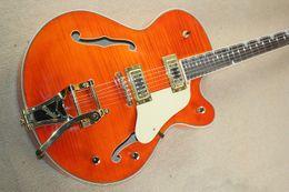 Hot Bar Australia - hot!!Gold swing bar electric guitar tiger pattern maple veneer surface orange orange red