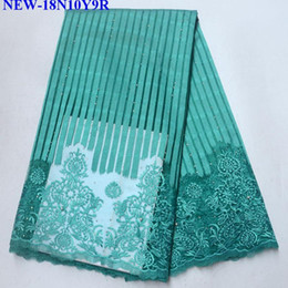 Wholesale fabrics embroidered for clothes for sale - Group buy 2018 High Quality African Laces Fabrics Green Embroidered African Guipure French Net Lace Fabric With Beaded For Clothe JH