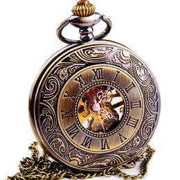 $enCountryForm.capitalKeyWord UK - WOONUN Top Brand Luxury Steampunk Skeleton Mechanical Pocket Watches For Men Vintage Bronze Mechanical Pocket Watch With Chains