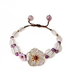 $enCountryForm.capitalKeyWord NZ - Purple Crystal Drawstring Bracelets Seashell Flower Bracelet Chinese Style Handmade Bead Wrap Bracelets Bracelet For Women