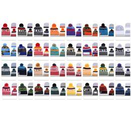 Football beach online shopping - 2019 Newest Winter Beanie Knitted Hats Sports Teams Baseball Football Basketball Beanies Caps Women Men Pom Fashion Winter Top Caps
