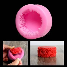 flower molds for cakes UK - Nicole Rose Flowers Round Silicone Mold Forms for Soap DIY Crafts Mould Candle Molds Stampi In Silicone Cake Tools