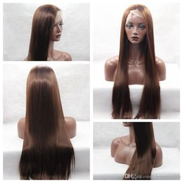 Long Brown Lace Front Synthetic Wig NZ - New Style Dark Brown 33# Long Silky Straight Wigs High Quality Heat Resistant Glueless Synthetic Lace Front Wigs for Black Women