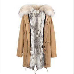 detachable rabbit collar Canada - Jazzer white fur trim 100% grey white grass rabbit fur lining Khaki jackets long style winter snow fur parkas