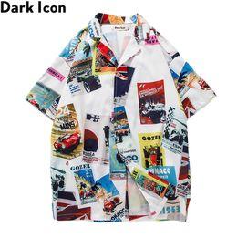 b27cc09b0 Printed Turn-down Collar Men's Shirt Vintage Hip Hop Shirt Men 2018 Summer  Hawaii Style Men Shirts