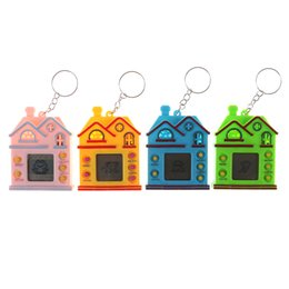 Wholesale 1PC Mini House Design LCD Virtual Digital Pet Electronic Game Machine With Keychain christmas gifts for children