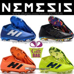 8d57de11988e Original New Outdoor Soccer Shoes Nemeziz 18 FG Football Shoes Mens High  Ankle Soccer Cleats Leather Messi Football Boots Designer 6.5-11.5