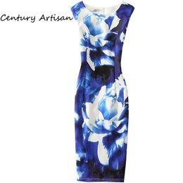 CYAN Casual Women Summer Autumn Dress 2018 Elegant Floral Party Dresses  Sexy Slim Office Bodycon Dress Female Plus Size WhiteX82302 4f2f866c6ab3