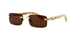 Мужчины женщины солнцезащитные очки Франция Марка бескаркасных прямоугольник дизайнер очки роскошные c шарнир дерево солнцезащитные очки люнеты soleil sonnenbrille продажа