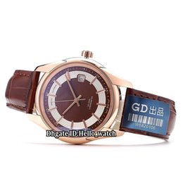 China Cheap New Date Brown Dial 431.63.41.21.13.001 Japan Miyota 8215 Automatic Mens Watch Rose Gold Case Leather Strap Gents Business Watches supplier japan miyota watch suppliers