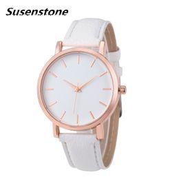 China Susenstone 2018 Women Watch Geneva Brand Fashion Dress Ladies Watches Leather Women Analog Quartz Wrist Watch Relojes Mujer suppliers