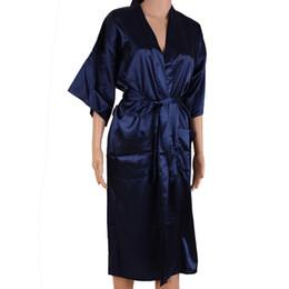 708eba27d3 Navy Blue Men Sexy Silk Rayon Kimono Bathrobe Gown Chinese Style Male Robe  Nightgown Sleepwear Plus Size S M L XL XXL XXXL MR006