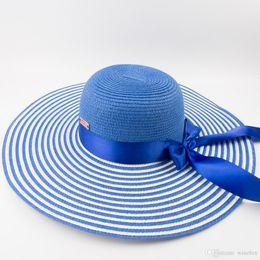 8dae925c 2019 New Aegean Sea Female ladies Paper straw Blue white Stripe Floppy Hat  Sun Summer Beach Wide Brim UV Protection Foldable Hat EPU-MH1844