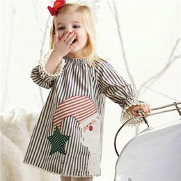 Neonata Babbo Natale Stripe Dress Bambini Nappa Bottom Princess Dress Manica lunga Natale Santa Print Dress Regali di Natale