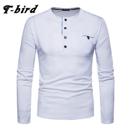 white bird decorations UK - T-bird Men T-Shirt 2018 Summer Long sleeve Button Decoration Fashion Simple Tshirt Mens Cotton Casual T Shirt Male Tees