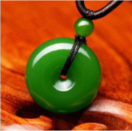 Necklaces Pendants Australia - Natural Green Jade Doughnut Pendant Lucky Buckle Jadeite Necklace Charm Jewelry