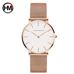 Discount japan movement watches - HM Stainless Steel Mesh Wristwatch Top Brand Luxury Japan Quartz Movement Rose Gold Designer Elegant Style Watches For W