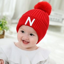 Discount thanksgiving beanie babies - Autumn and winter new children's hanging ball hat thick knit cuffed hat letter mark ball cap Baby hat