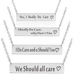 """Chinese  Quote Pendant Necklace""""I Really Do Care"""" Stainless Steel Laser Engraving Inspiration Jewelry Gifts Hot New Arrival Wholesale manufacturers"""