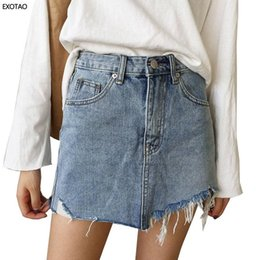 Edged Skirt Canada - 2017 Summer Jeans Skirt Women High Waist Jupe Irregular Edges Denim Skirts Female Mini Saia Washed Faldas Casual Pencil Skirt