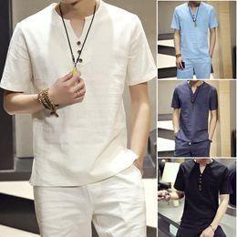 Linen running shorts online shopping - Man Set T shirts Tees Tops Shorts Suits Men Brand Clothing Cotton Blend Piece Set Mens Short Sets Plus Size M XL